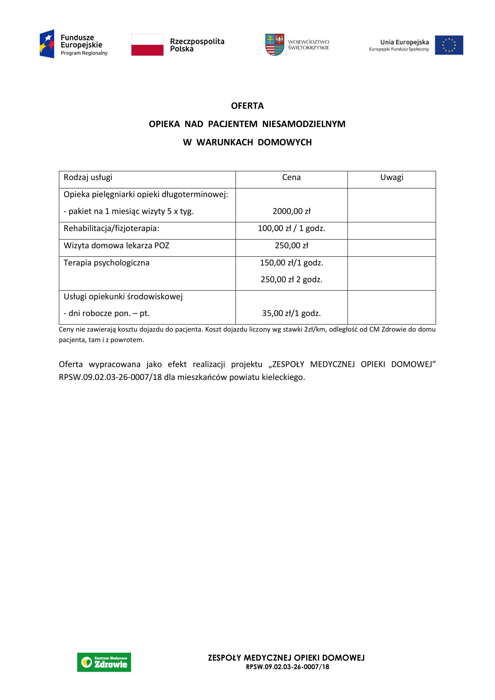 Opieka nad pacjentem niesamodzielnym w warunkach domowych – Zespoły Medycznej Opieki Domowej – powiat kielecki-1